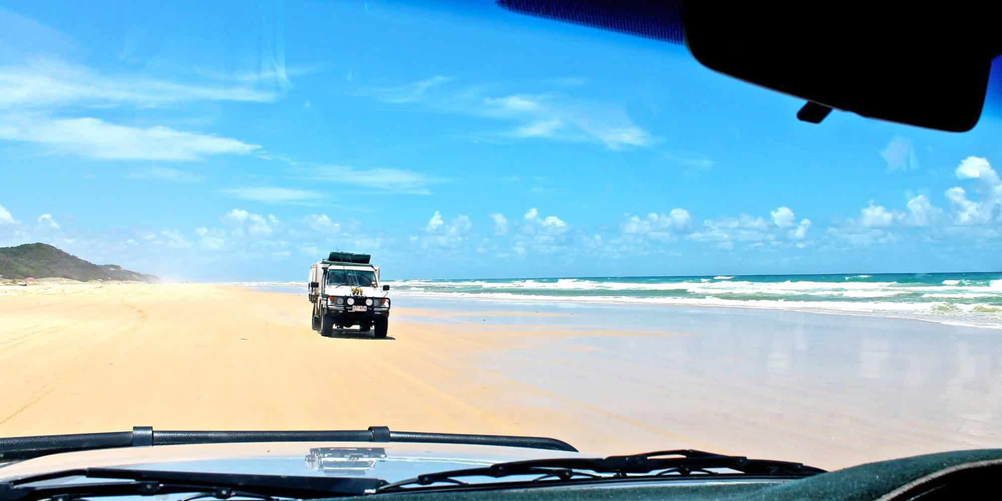 Cruising along the 'motorway' of Fraser Island
