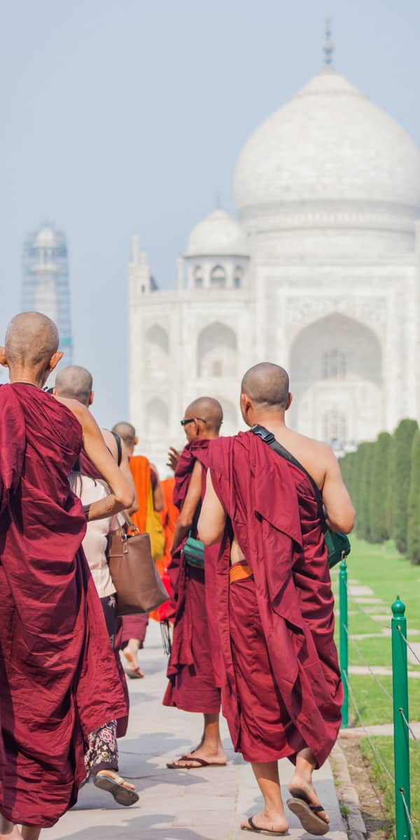 Monks at Taj Mahal