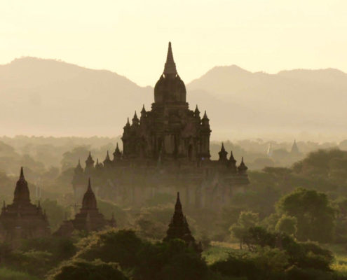 Bagan Sunrise Temple Mist Myanmar