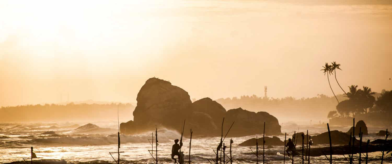 Stilt Fishermen Sunset Sri Lanka