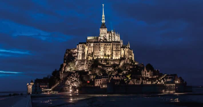 Mont St Michael France at Night