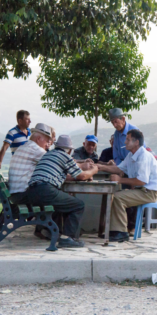 Locals playing chess Albania
