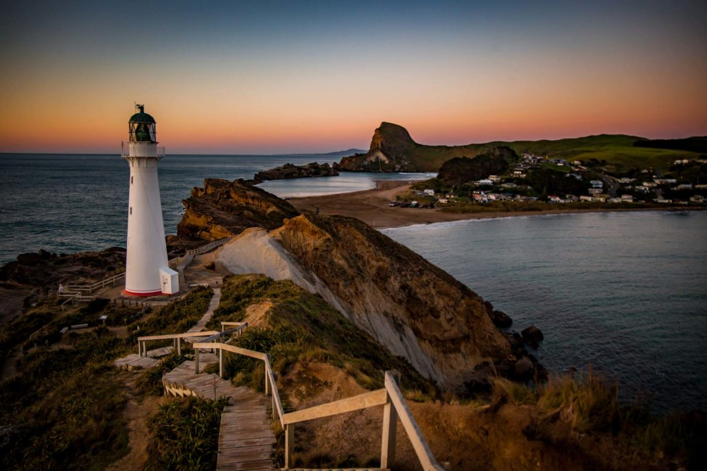 The Castlepoint lighthouse at sunrise, New Zealand