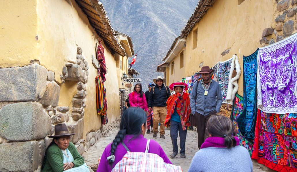 The colourful street of Ollantaytambo