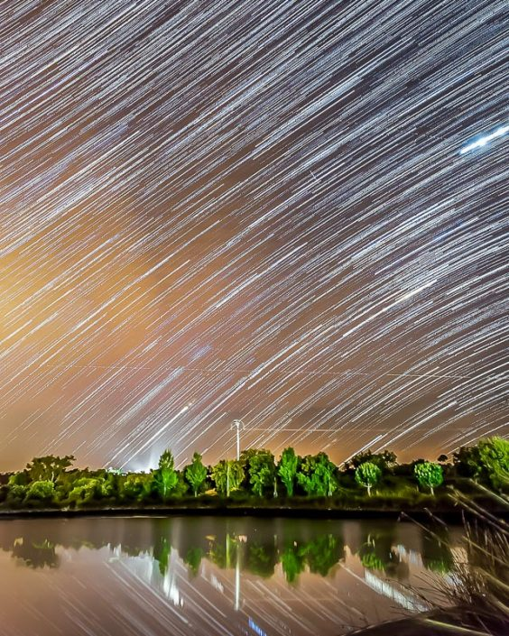Star Trails over the resorts lake