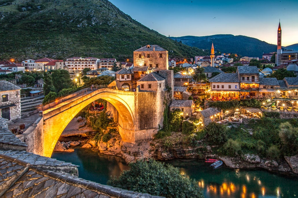 Crowd-free Mostar after sunset