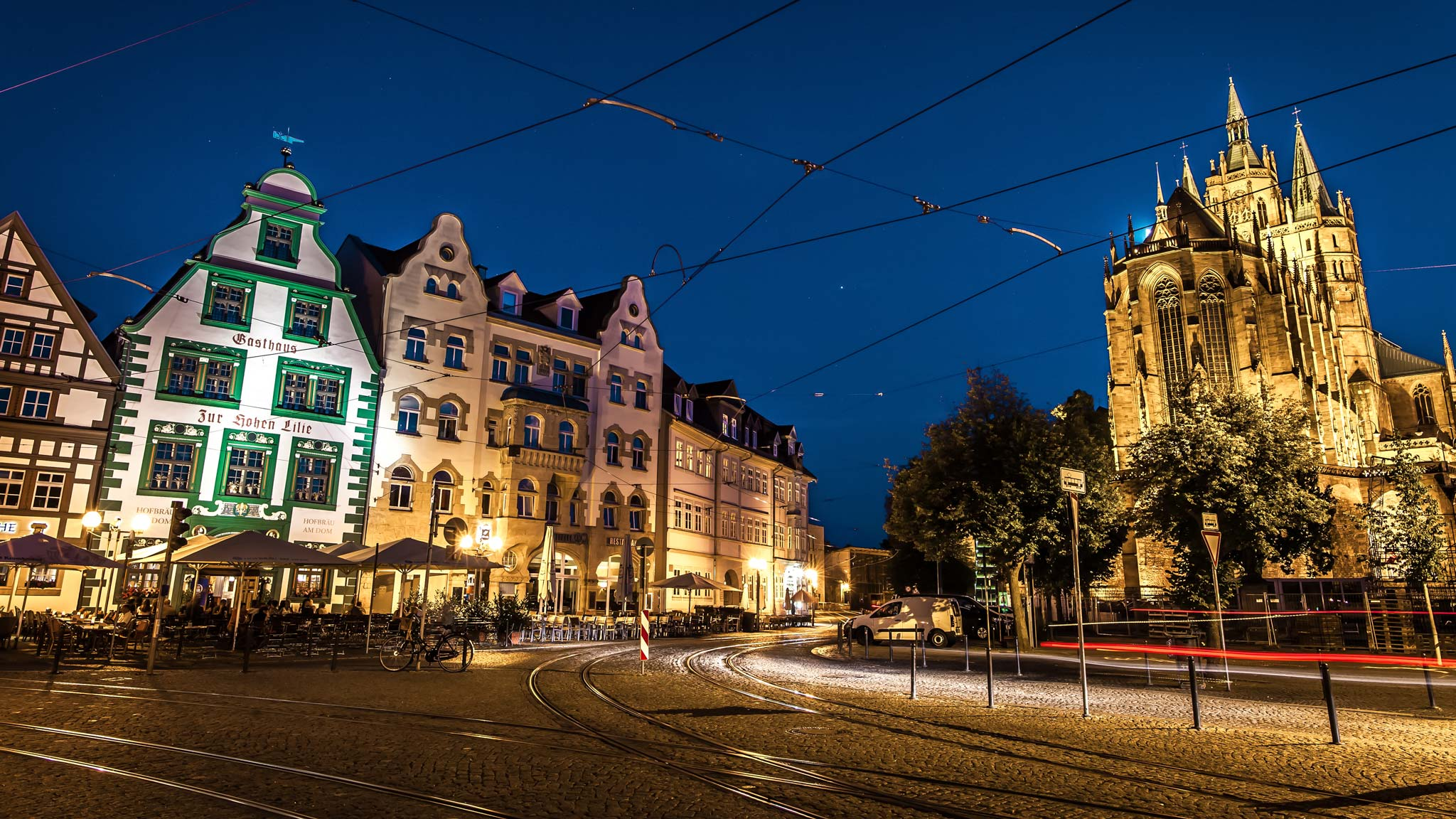 Nightime in Erfurt Thuringia
