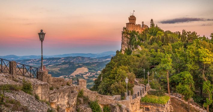 One of the San Marino towers at sunset