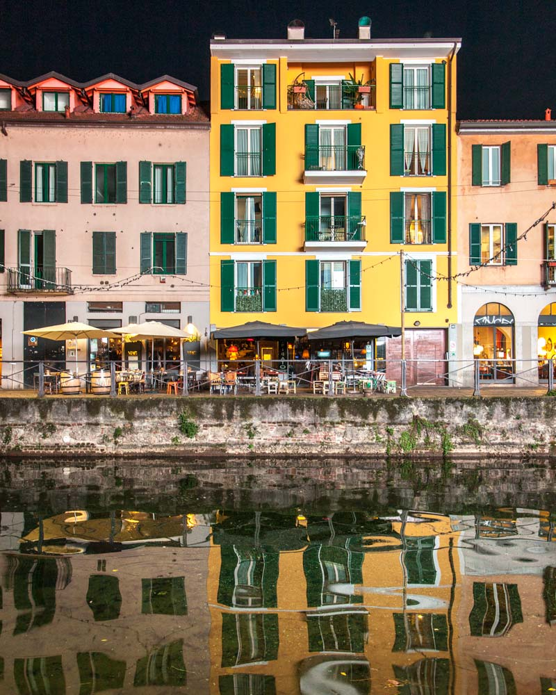 Navigli Milan canals reflection