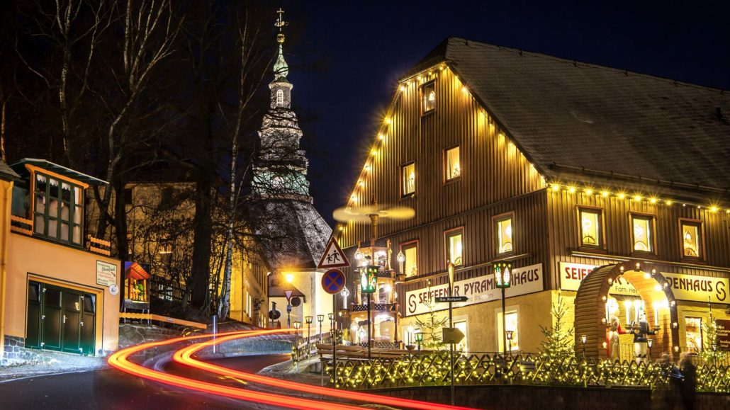 Christmas lights and a church in Seiffen ore Mountains