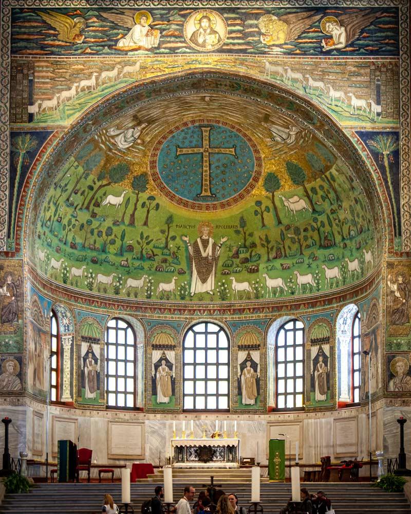 Ravenna mosaic of green tiles and church windows
