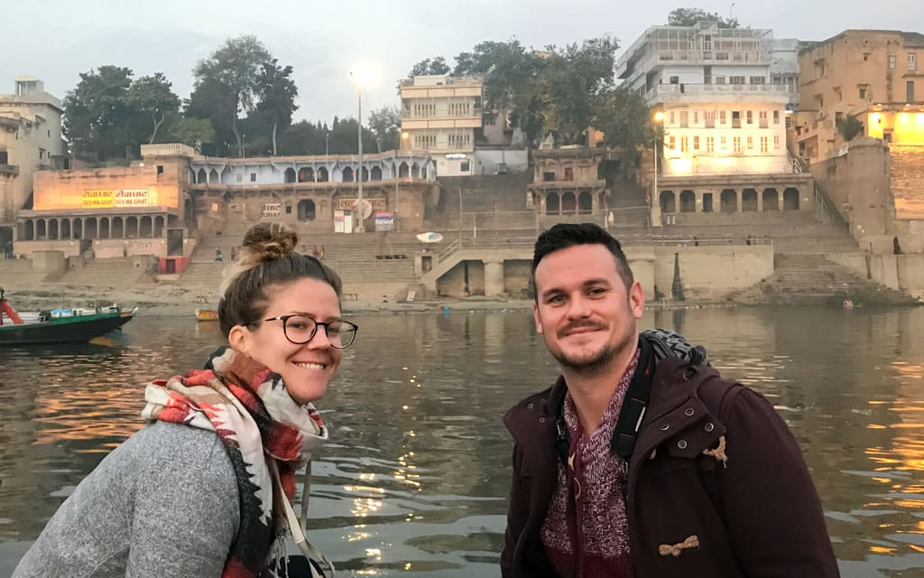 Dan and Vicky flip flop in Varanasi
