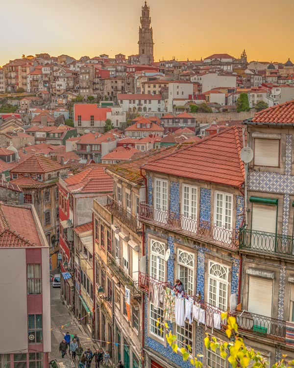 Sunset in Porto small street