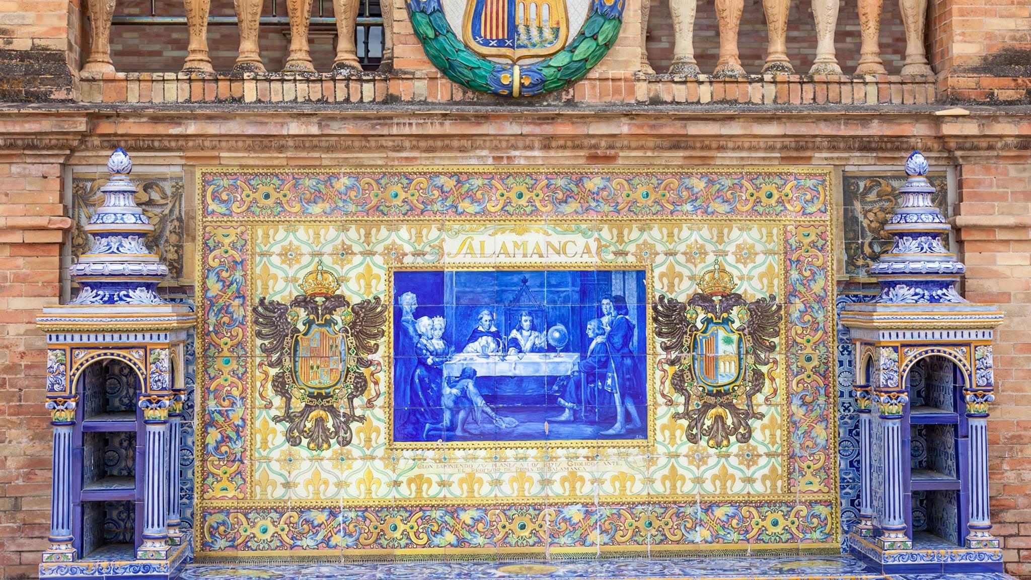 Tiles decorate Plaza Espana
