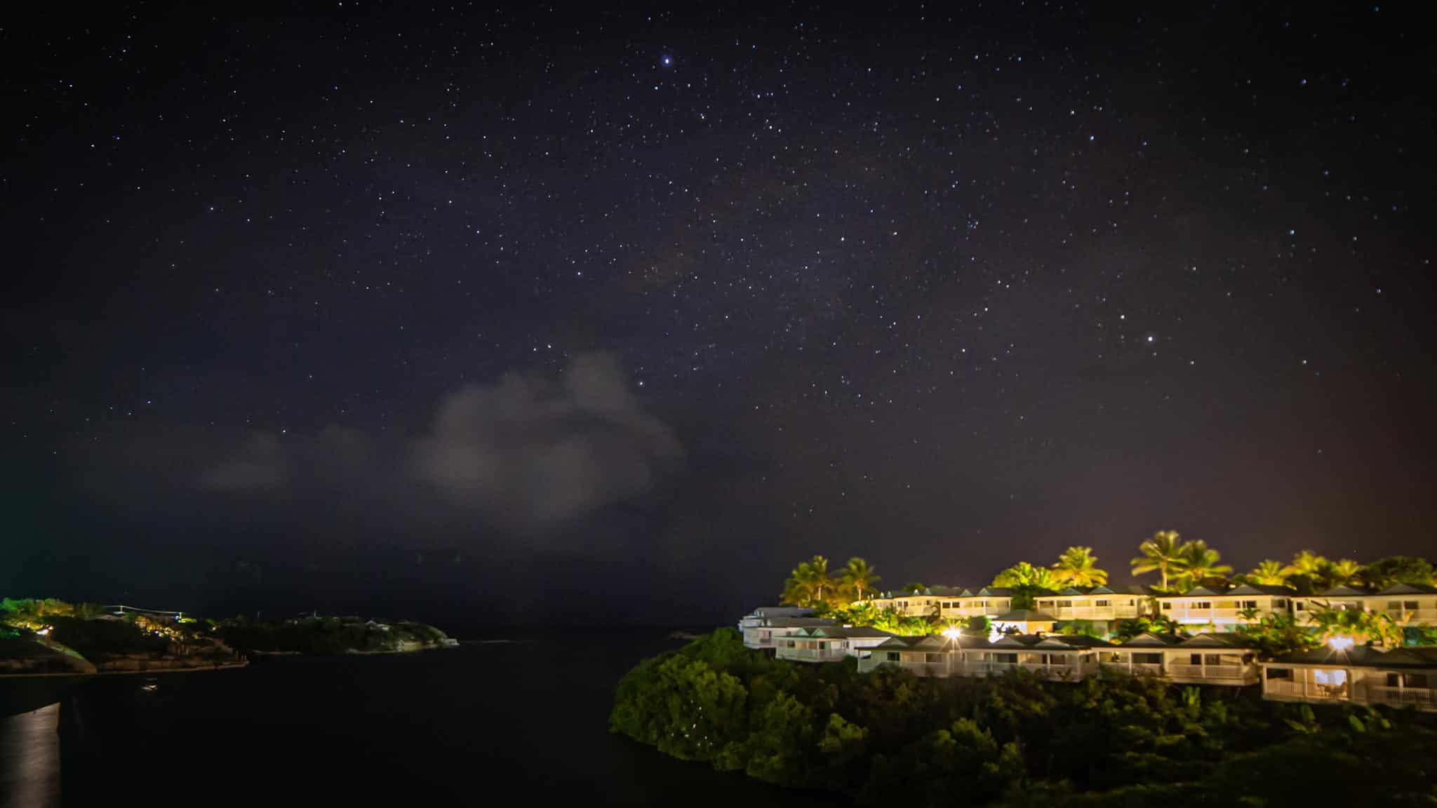A starry sky and the ocean as viewed from a resort in Antigua