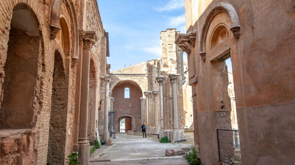 The ruins of an old cathedral in Cartagena Spain