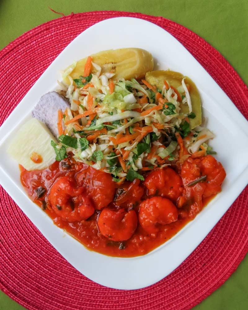 A Creole shrimp dish in Dominica