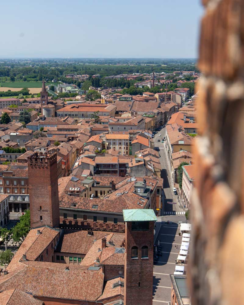 Views from the top of Cremona Tower with more towers in the foreground