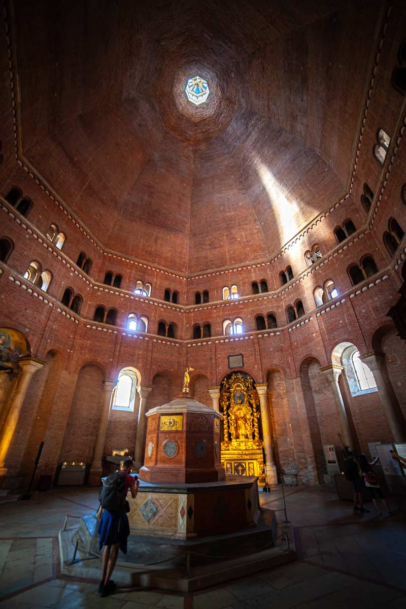 The red brick octagonal Baptistery as seen from inside