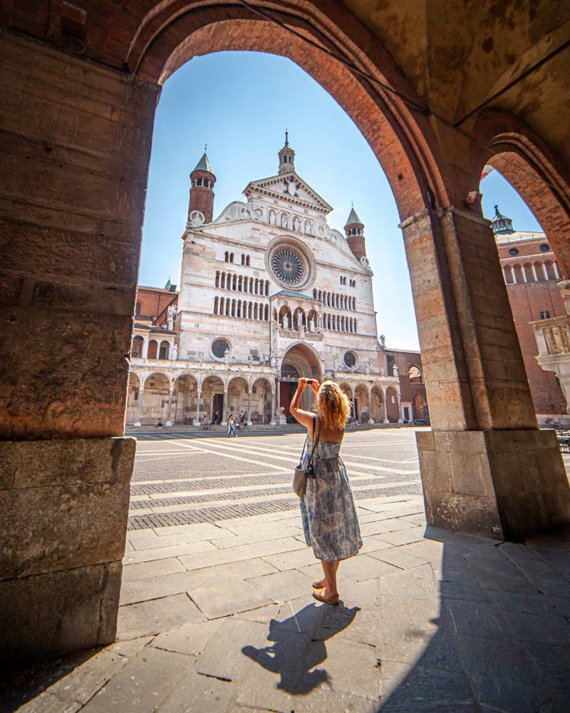 Cremona Cathedral framed by a Portico