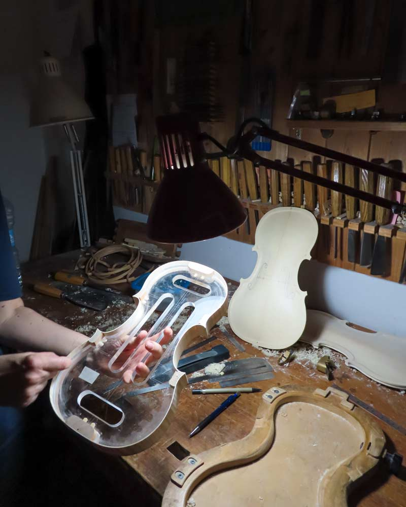 A Violin piece is ready to be fitted in Cremona