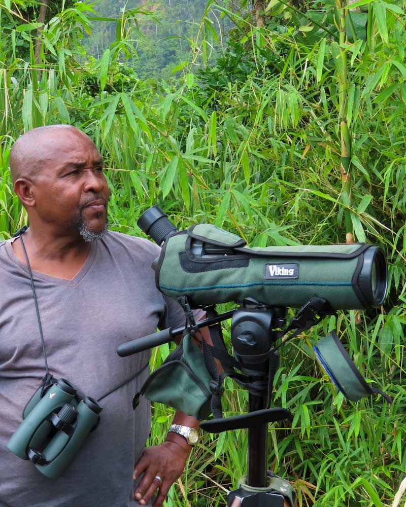 Dr Birdy, a well known bird expert in Dominica