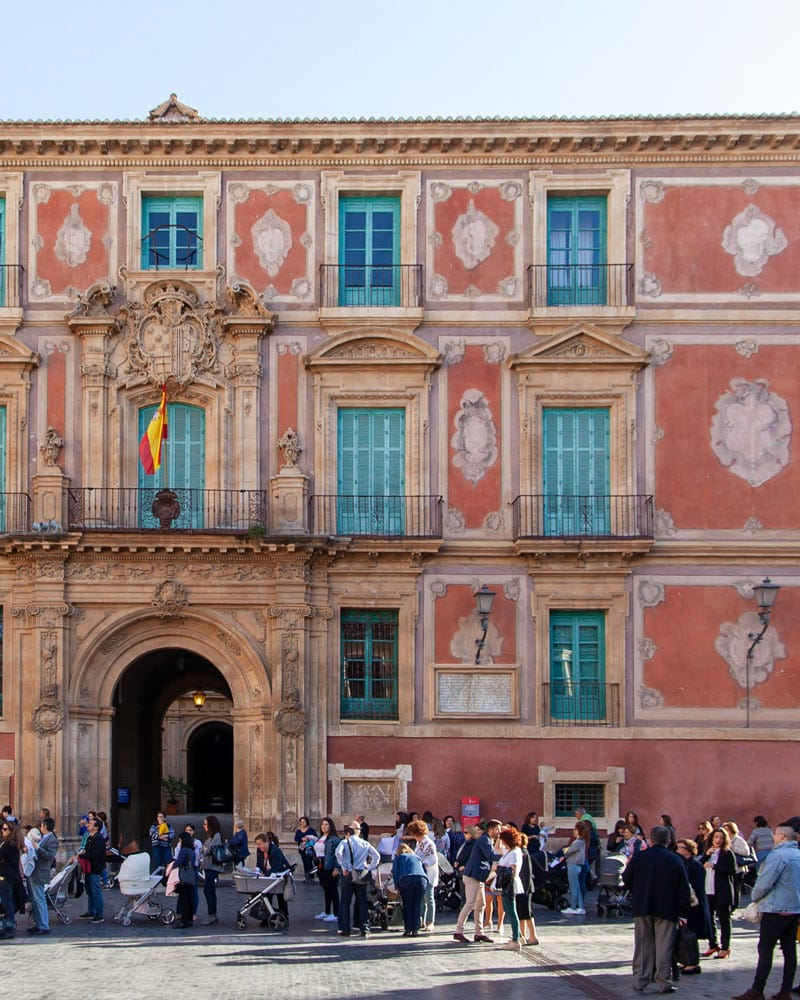 The pink/red fronted Bishops palace in Murcia Spain