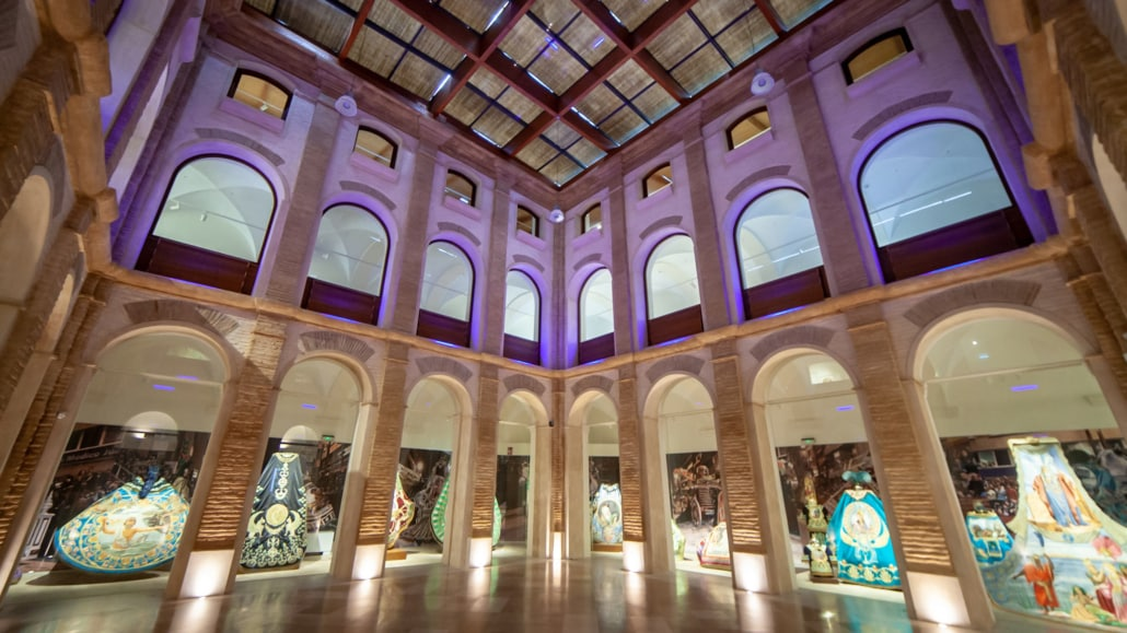 A two story building with impressive arched frames is home to the Semana Santa exhibit of outfits in Lorca Spain