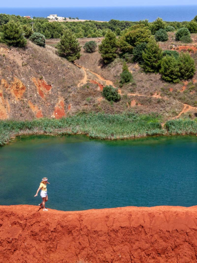 A red sand park and lake in Otranto Puglia