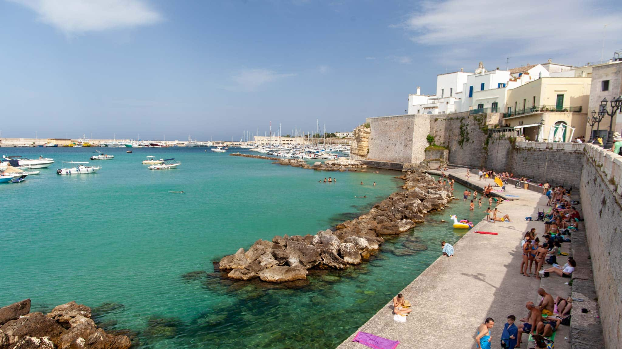 The walled city of Otranto in Puglia with the coast outside the walls