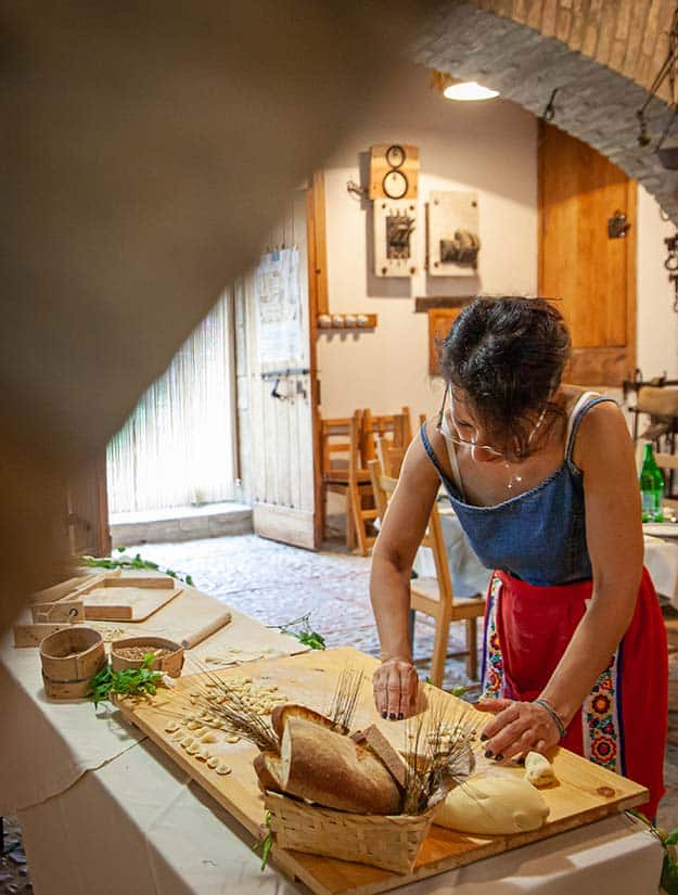 Olga makes traditional Puglia pasta inside a watermill