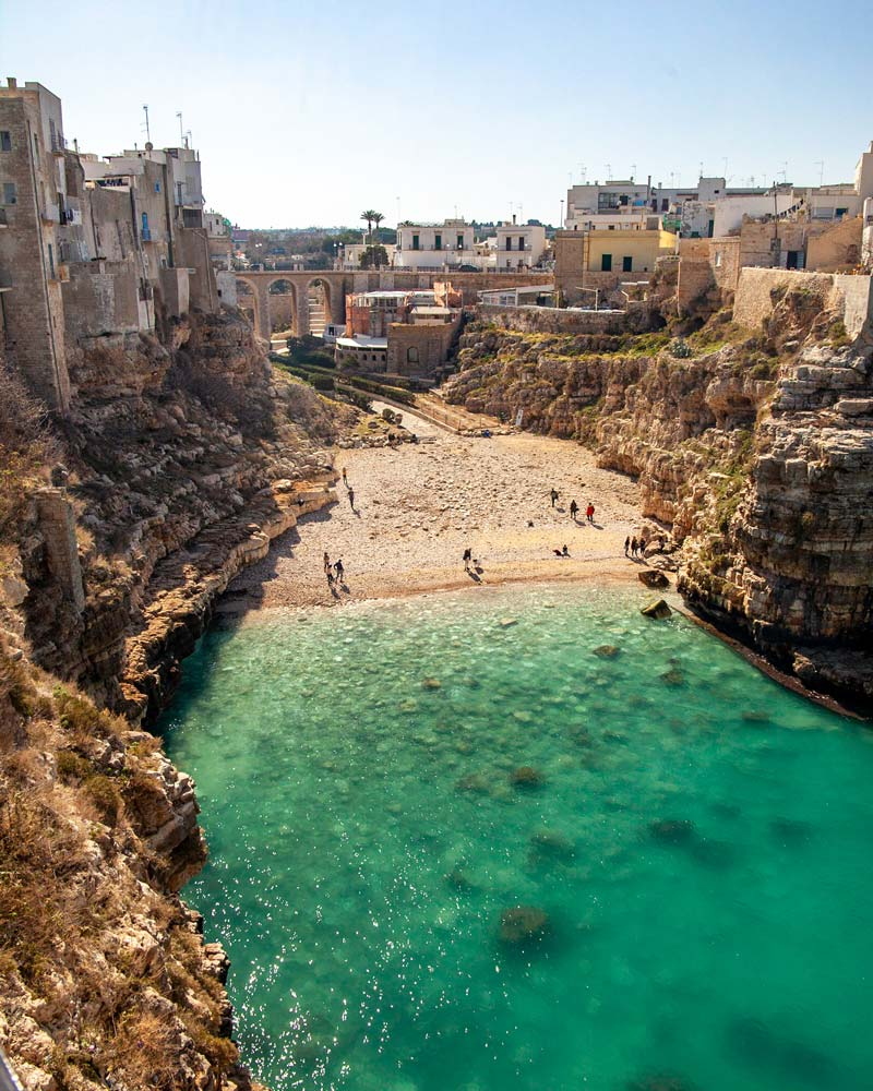 The main beach of Polignano a Mare