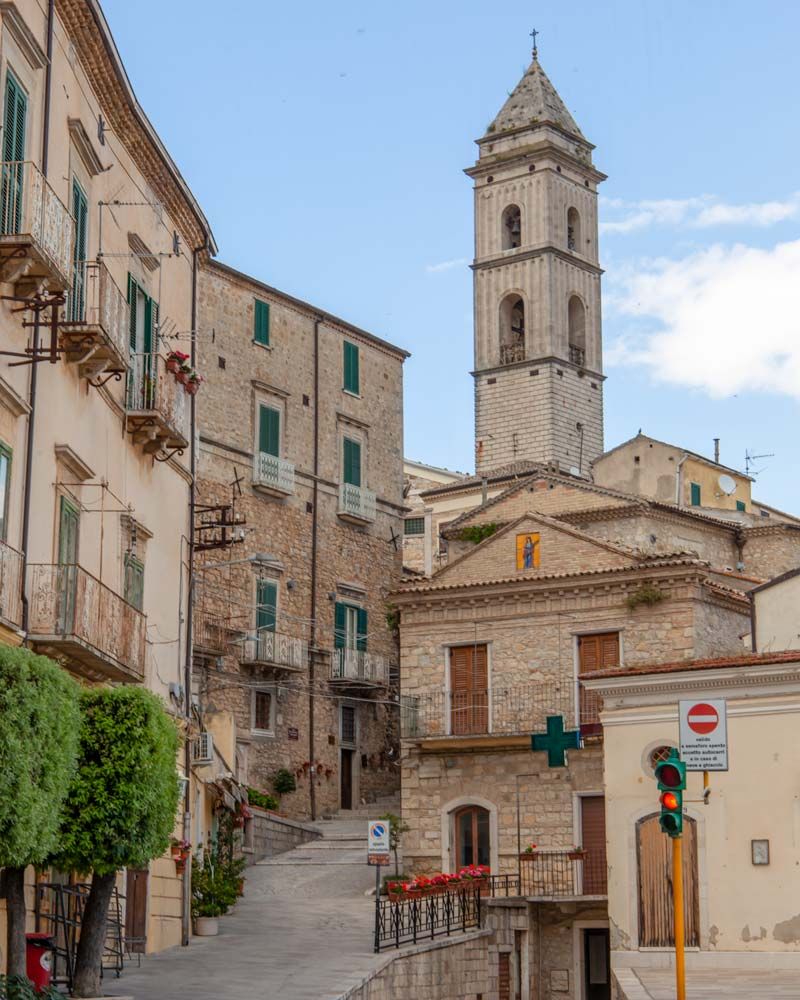 The main square of Santa Agata di Puglia with a tower