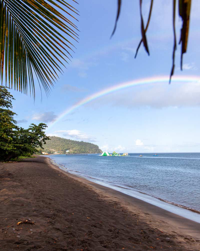 A rainbow over the ocean in Portsmouth Dominica