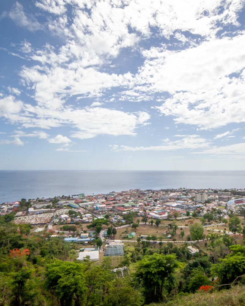 Overlooking Roseau Dominica from above with the Atlantic ocean in the background