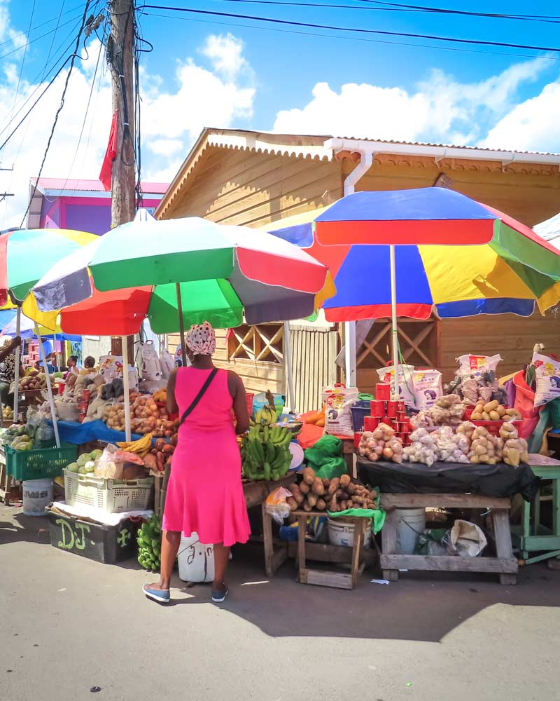 Colourful market stand and umbrella in Dominica