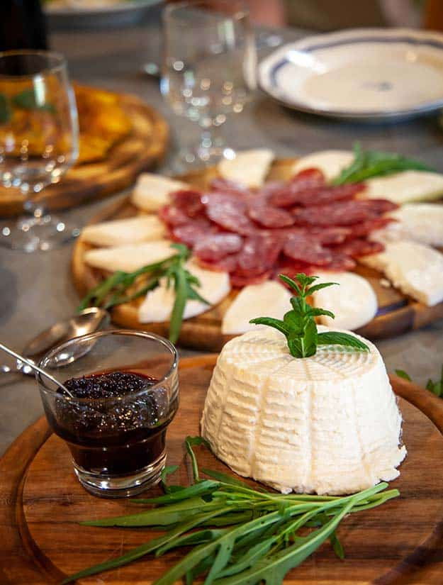 Lunch of cheeses in an old Puglia watermill