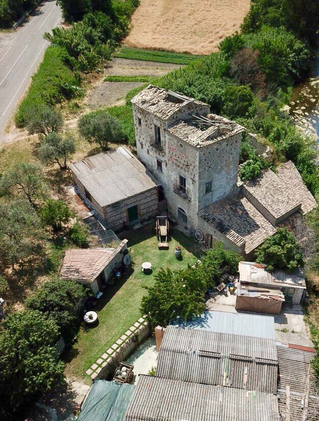 An old watermill as seen from above