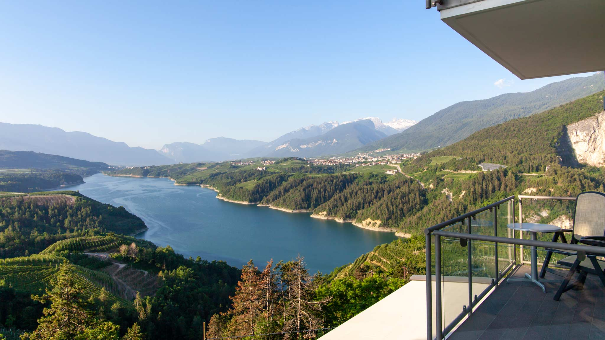 The incredible views from Hotel Vidris in Val Di Non overlooking the lake