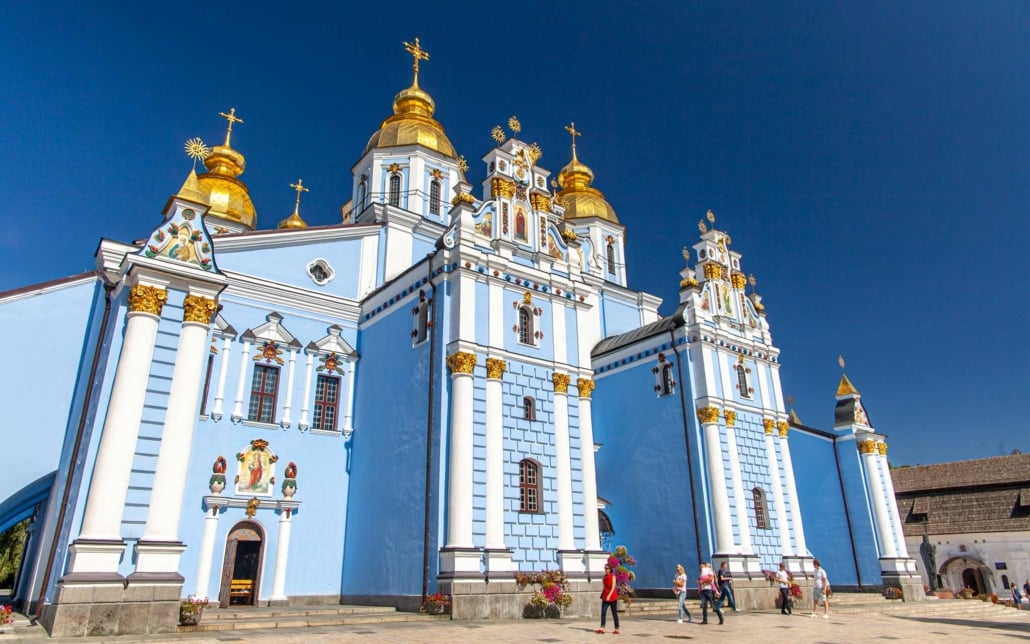 St Michael's Cathedral in Kyiv, a blue cathedral with gold dome