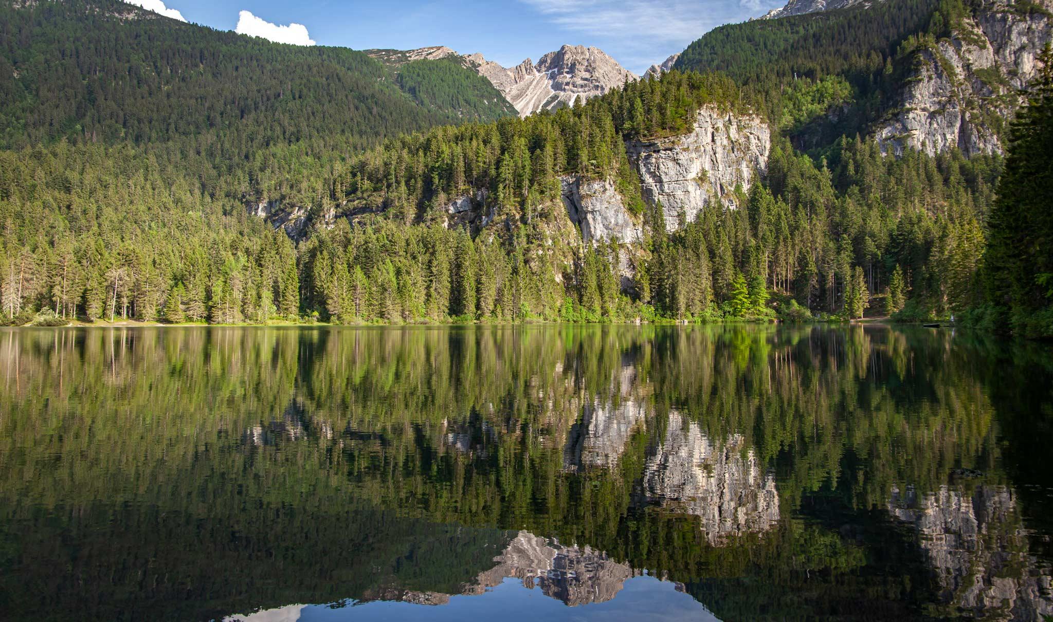 Beautiful alpine reflections at Lake Tovel