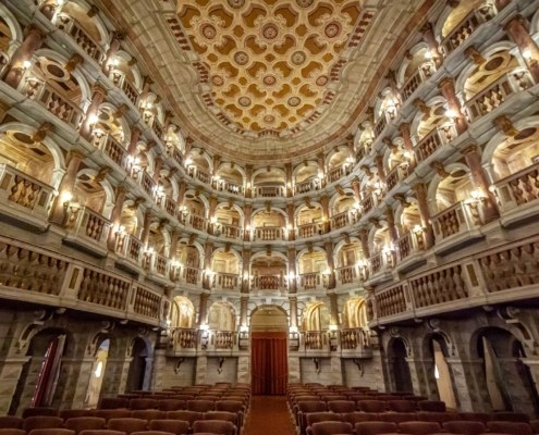 A beautiful theatre with stools and balconies in Mantua Italy