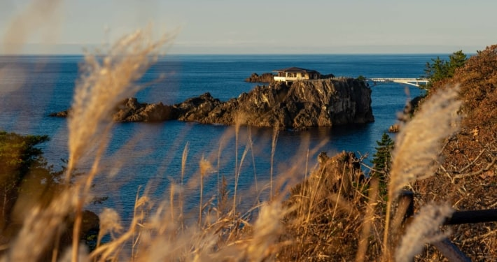 A viewing platform on the rocky Sado Island coast