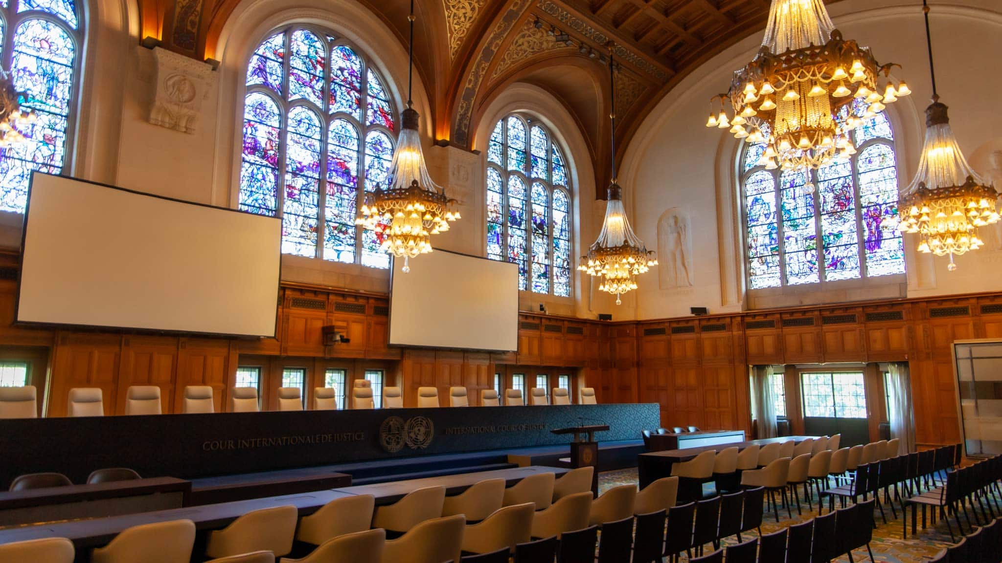 A courtroom inside the Peace Palace