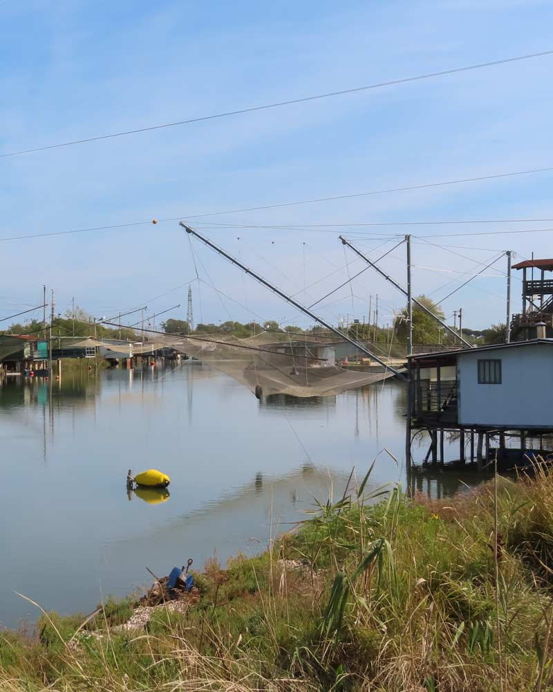 Traditional fishing nets in the Po Delta