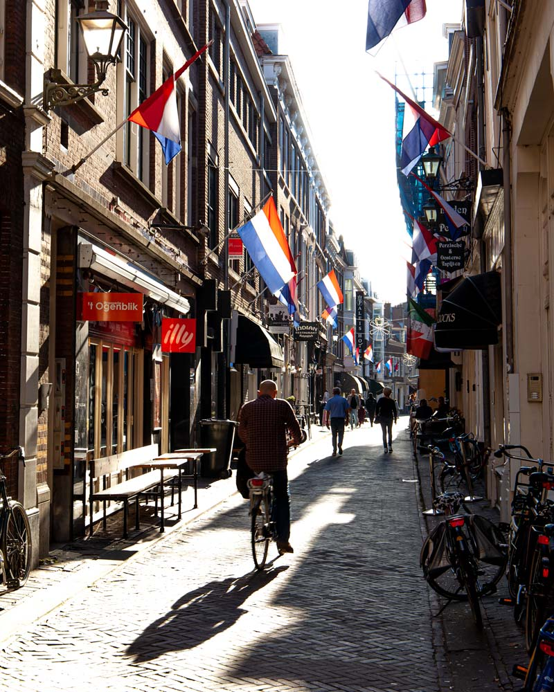 Bar lined streets in The Hague