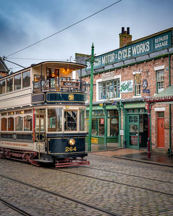 A tram at beamish museum in Durham
