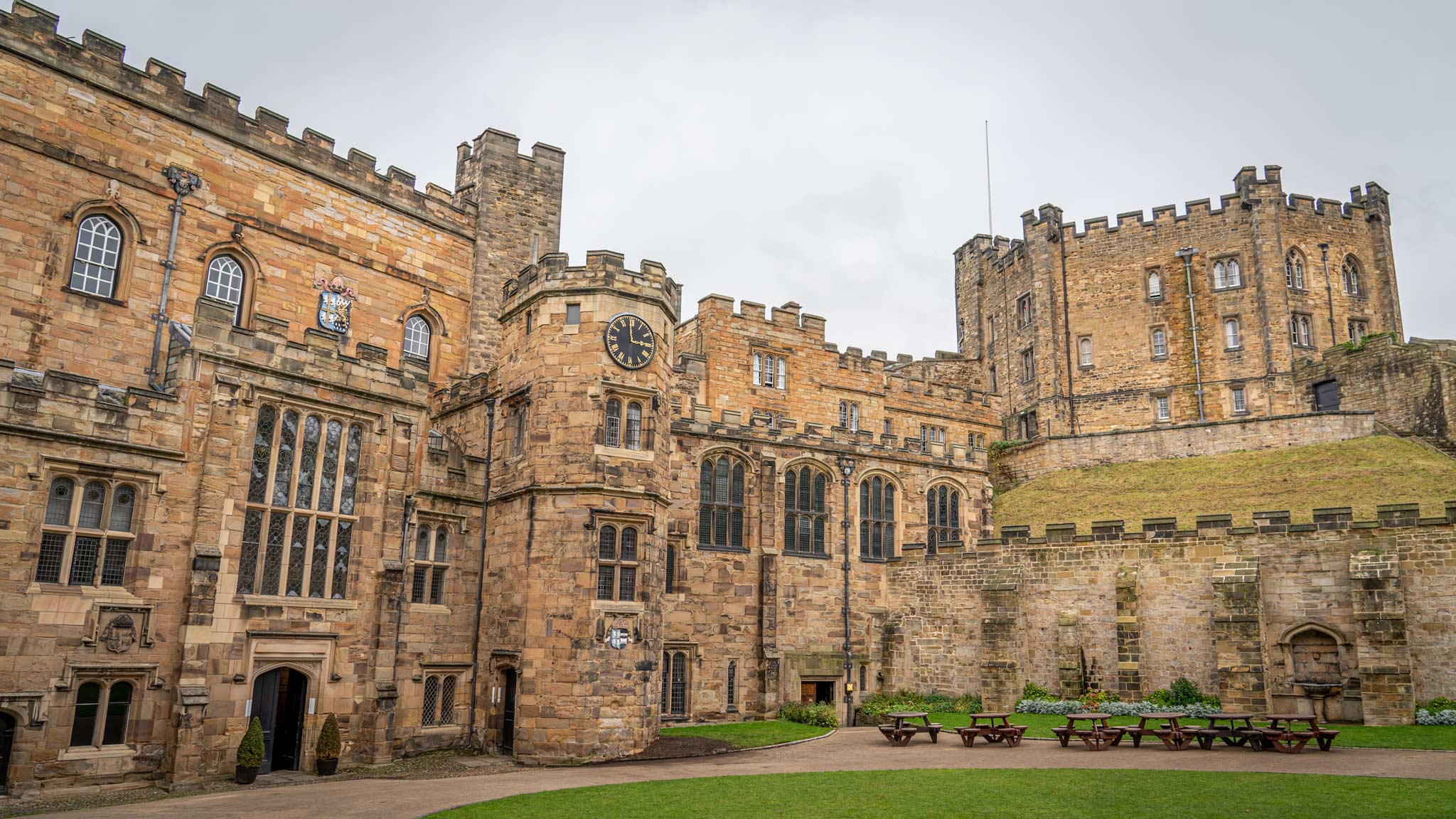 Outside view of Durham Castle with an octagonal tower to the side