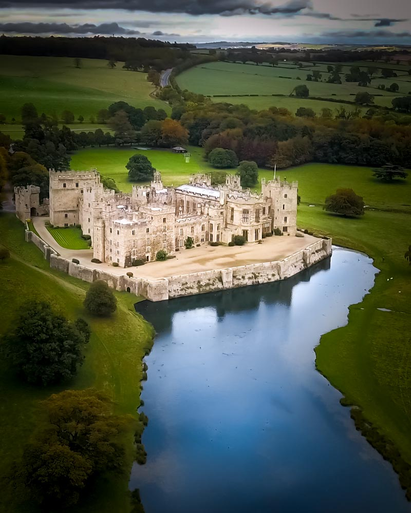 Raby Castle as seen from above