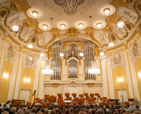 The beautiful gold decoration of the Großer Saal in Mozart Foundation